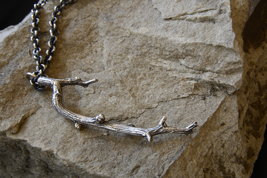 Branch Necklace, Sterling and 18k Gold